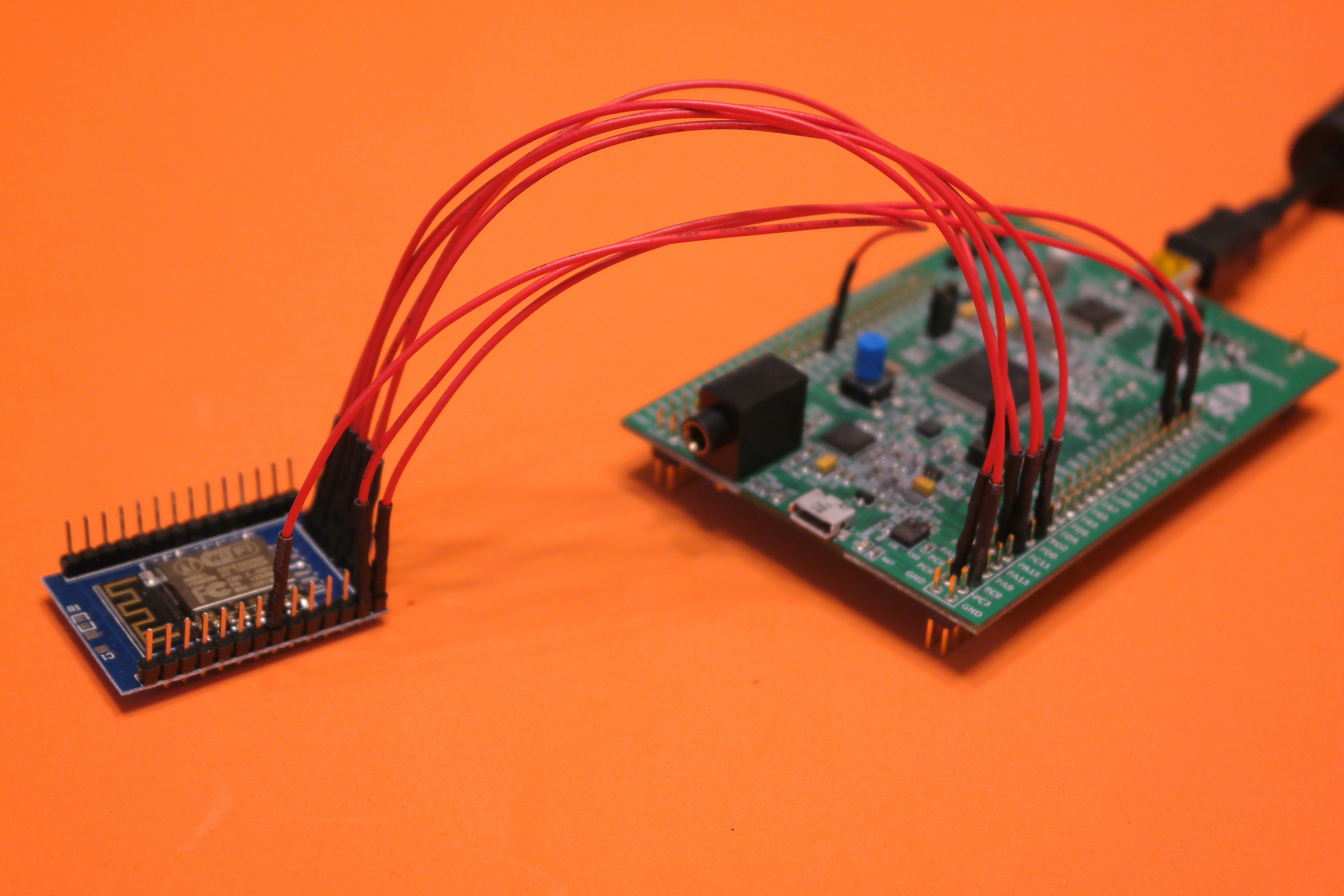 STM32F4 Discovery and ESP-12 on Orange